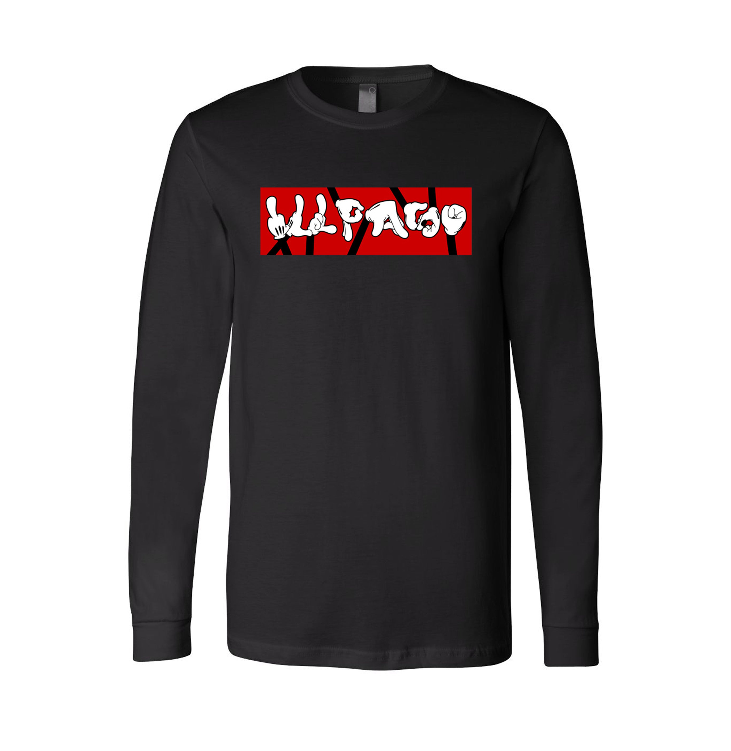 """Hand Signs"" Long Sleeve T-shirt (Black) by Don Art"