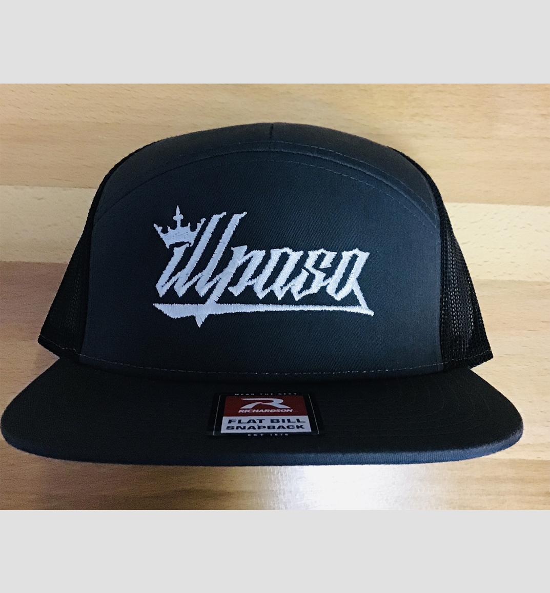 """Crown"" 7- Panel Trucker (Black) Unisex Cap"