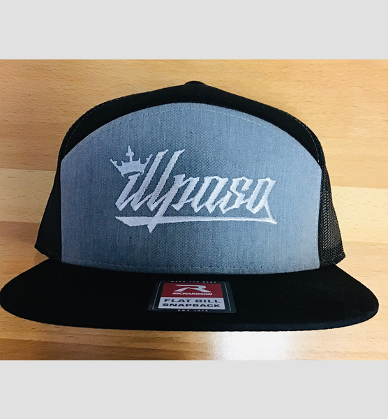 """Crown"" 7- Panel Trucker (Gray and Black) Unisex Cap"