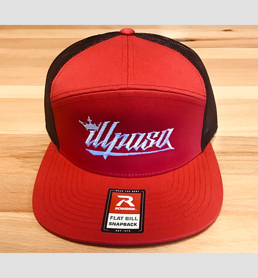 """Crown"" 7- Panel Trucker (Red and Black) Unisex Cap"