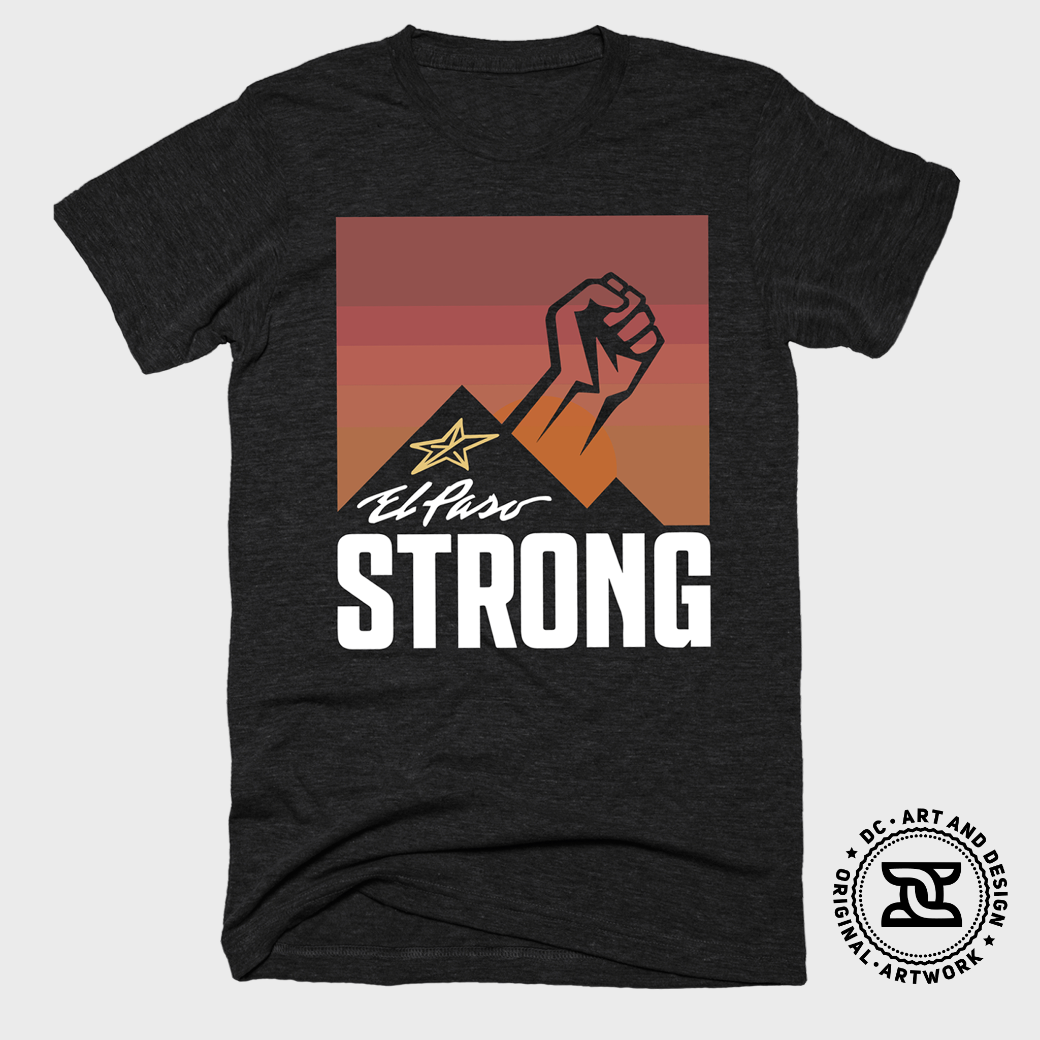 "El Paso Strong ""Sunrise"" T-shirt (Black) by DC Design"