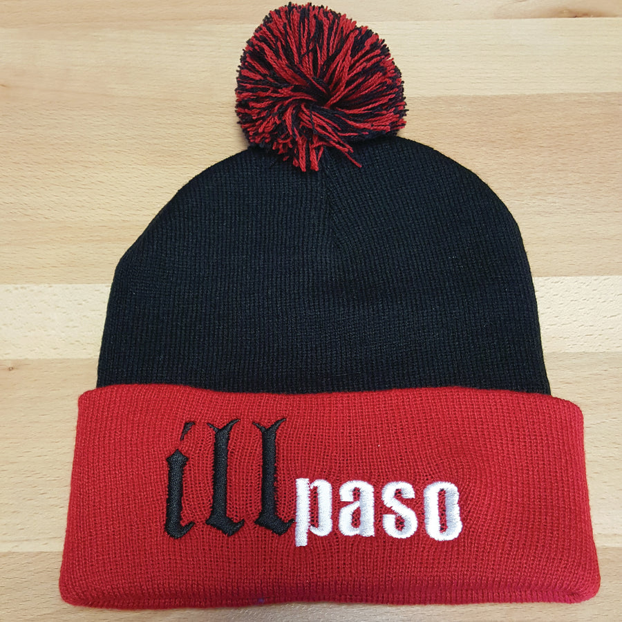 """illmatic Tribute"" Pom Beanie ( Black w/ Red Brim) by illpaso"