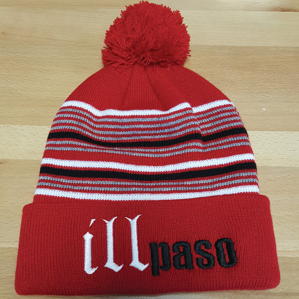 """illmatic Tribute"" Pom Beanie (Red Striped) by illpaso"