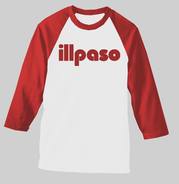 """Diablos Tribute"" Men's Raglan (White w/ Red Sleeves) by illpaso"