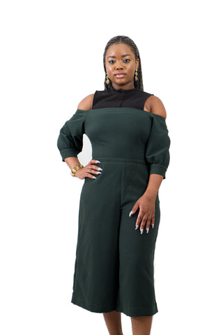 Green Cold Shoulder Jumpsuit