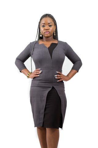Grey Pencil Dress