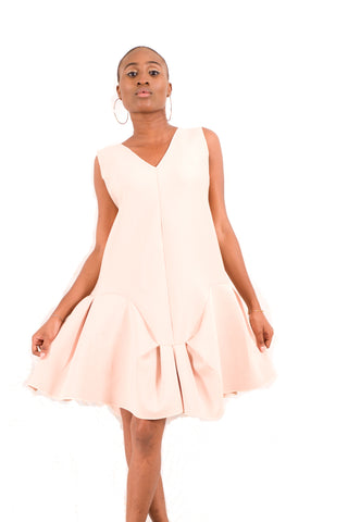 Neoprene dress with pleated hem