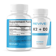 Load image into Gallery viewer, Revive MD K2 + D3 Bone and Cardiovascular Support- 60 Capsules