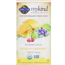Load image into Gallery viewer, Garden Of Life Vegan D3 Chewable Raspberry-Lemon 2000iu 30 vegan chewable tablets