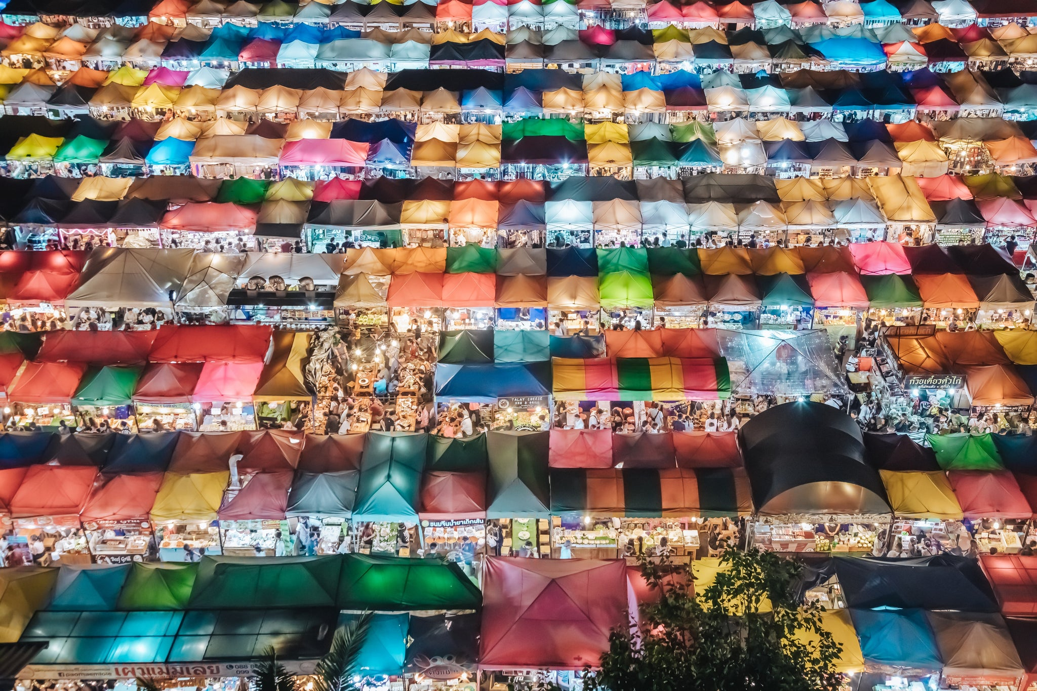 Ratchada Night Market from above, Bangkok, Thailand