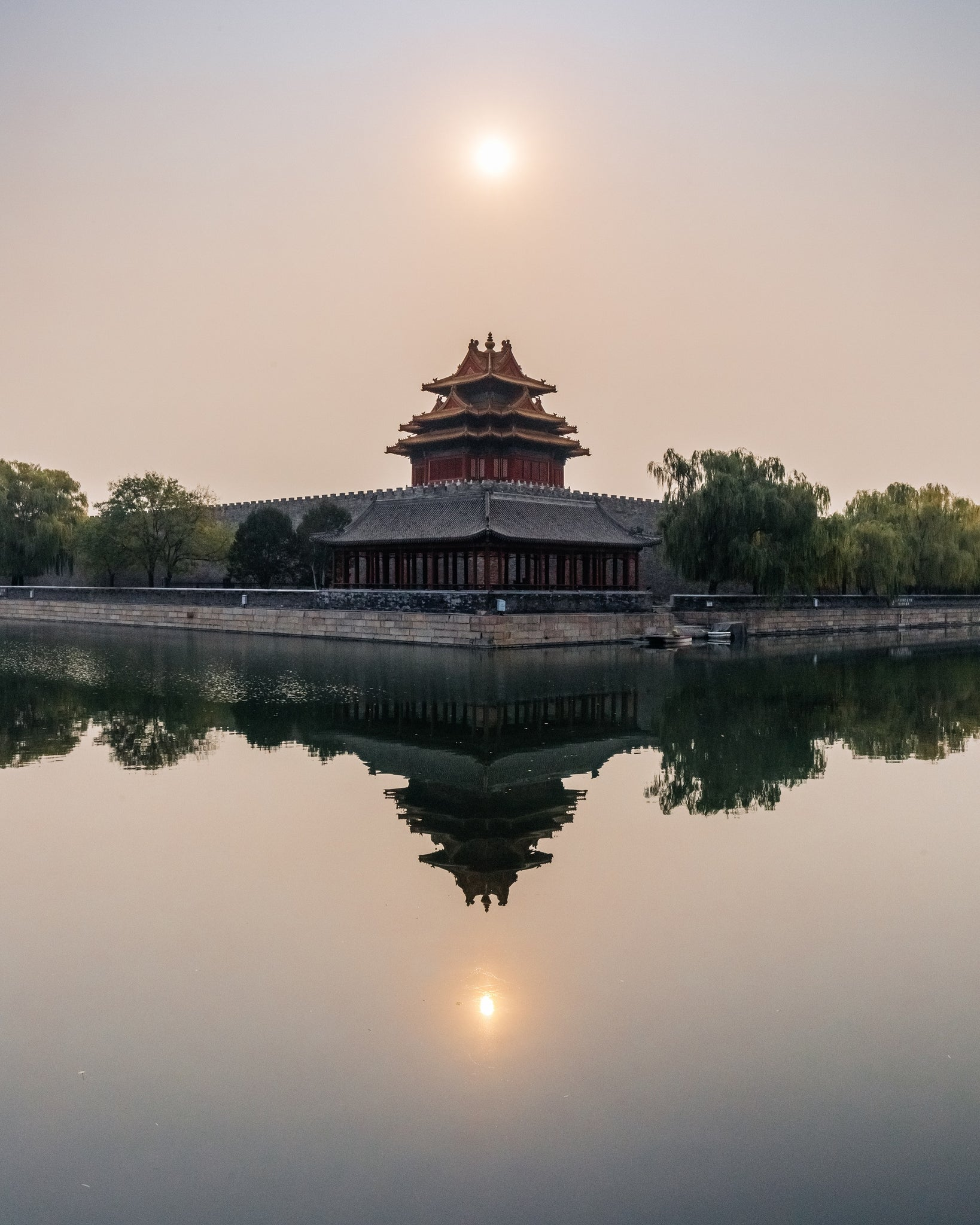 The outer walls of the Forbidden City, Beijing, China