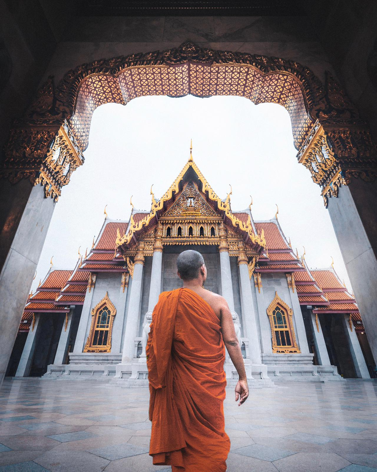 A monk at the Marble Temple, Bangkok, Thailand.