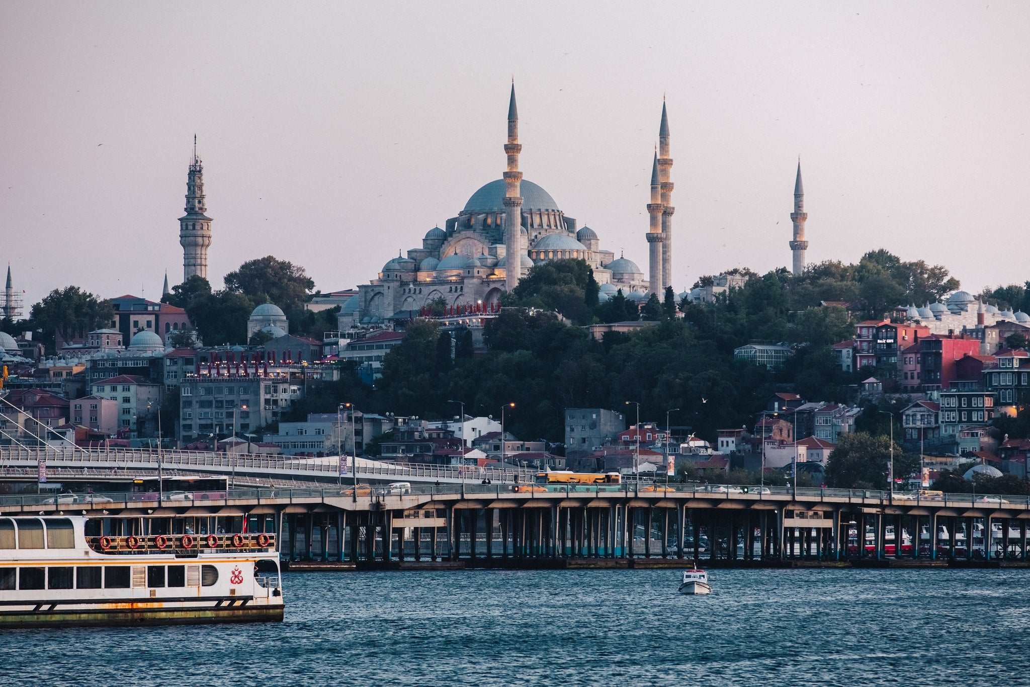 View from boat along Golden Horn, Istanbul, Turkey.