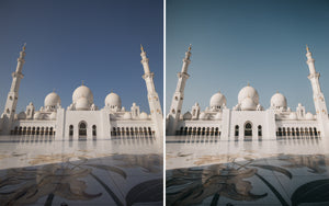 Before and after of @jordhammond Lightroom Desert Preset - Abu Dhabi Grand Mosque, UAE.