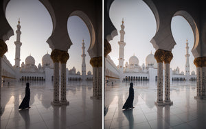 Before and after of @jordhammond Lightroom Desert Preset - Girl walking through Abu Dhabi Grand Mosque, UAE.