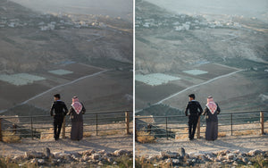 Before and after of @jordhammond Lightroom Desert Preset - Two men overlooking rural scene in Jordan.