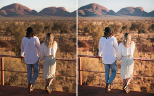 Before and after of @jordhammond Lightroom Desert Preset - Couple looking out to outback scenery in Northern Territories, Australia.