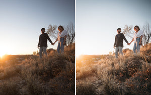 Before and after of @jordhammond Lightroom Desert Preset - Couple walking through grasslands in outback in Northern Territories, Australia.