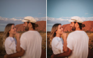 Before and after of @jordhammond Lightroom Desert Preset - Couple out of focus with Uluru in background, Northern Territories, Australia.