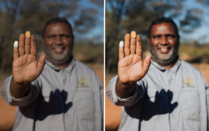 Before and after of @jordhammond Lightroom Desert Preset - Indigenous Aboriginal person showing local culture and practice, Northern Territories, Australia.