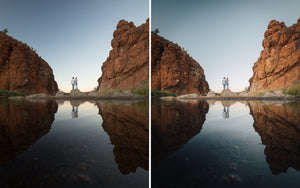 Before and after of @jordhammond Lightroom Desert Preset - Couple in oasis in outback with reflection, Northern Territories, Australia.