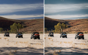 Before and after of @jordhammond Lightroom Desert Preset - Dune buggies racing through desert, Northern Territories, Australia.