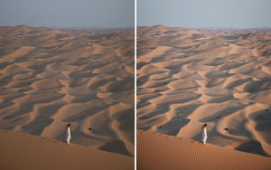 Before and after of @jordhammond Lightroom Desert Preset - girl walking down sand dune in Abu Dhabi.