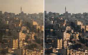 Before and after of @jordhammond Lightroom Desert Preset - sunset over the city of Amman, Jordan.