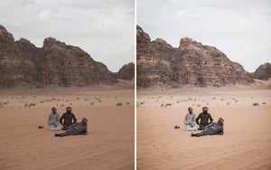Before and after of @jordhammond Lightroom Desert Preset - locals sat in the Wadi Rum desert, Jordan.