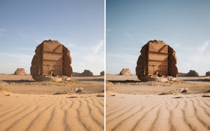Before and after of @jordhammond Lightroom Desert Preset - deserted tomb in desert of Al'Ula, Saudi Arabia
