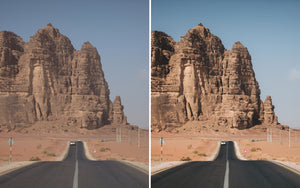 Before and after of @jordhammond Lightroom Desert Preset - Car driving through the Wadi Rum desert, Jordan.