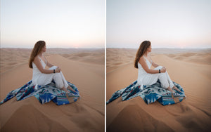 Before and after of @jordhammond Lightroom Desert Preset - girl sat on a rug in Abu Dhabi desert.