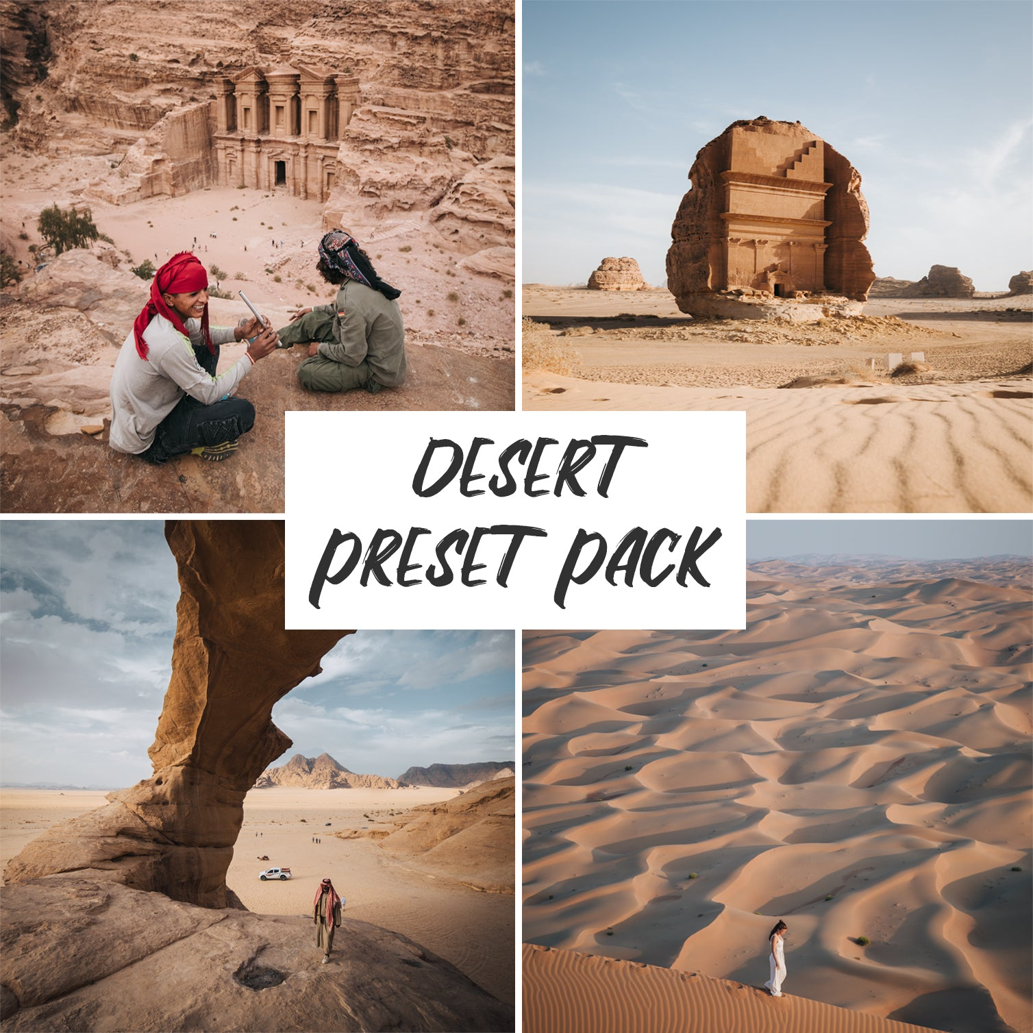Cover photo for the Jord Hammond Desert Preset Pack, with 4 examples of the presets in use in this pack.