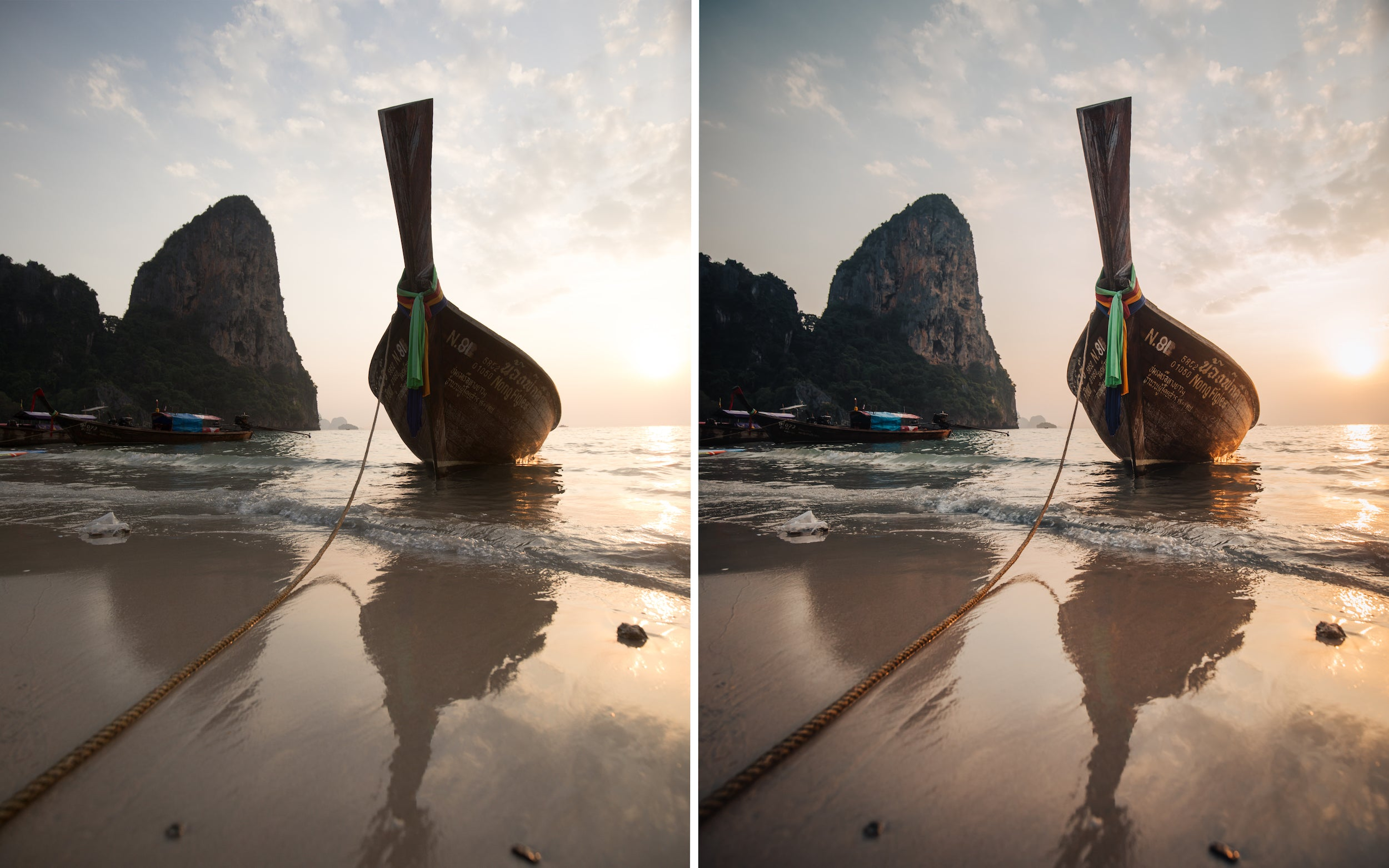 Before and after of @jordhammond Lightroom Tropical Preset - Sunset on Railay Beach, Krabi, Thailand.