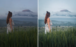 Before and after of @jordhammond Lightroom Tropical Preset - Girl walking through rice terraces towards Mt Agung volcano, Bali, Indonesia.
