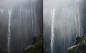 Before and after of @jordhammond Lightroom Tropical Preset - Girl stood on rock with huge Tumpak Sewu waterfall in background, Java, Indonesia.