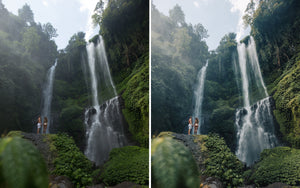 Before and after of @jordhammond Lightroom Tropical Preset - Couple stood on rock in front of Sekumpul waterfall, Bali, Indonesia.