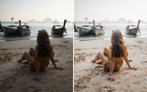 Before and after of @jordhammond Lightroom Tropical Preset - Girl sat on Railay Beach, Krabi, Thailand.