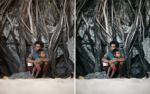 Before and after of @jordhammond Lightroom Tropical Preset - Locals sat on beach at Red Carabao Island, Coron, Philippines.