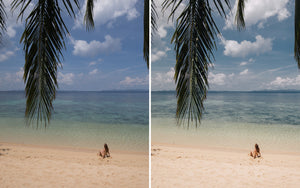 Before and after of @jordhammond Lightroom Tropical Preset - Girl sat on beach with palm tree at Red Carabao Island, Coron, Philippines.