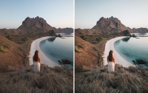 Before and after of @jordhammond Lightroom Tropical Preset - Girl stood looking at the view of Padar Island beach, Flores, Indonesia.