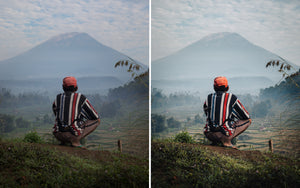 Before and after of @jordhammond Lightroom Tropical Preset - Local sat overlooking rice terraces at Mt Agung volcano, Bali, Indonesia.