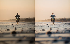 Before and after of @jordhammond Lightroom Tropical Preset - Man riding motorbike at sunset on beach, Bali, Indonesia.