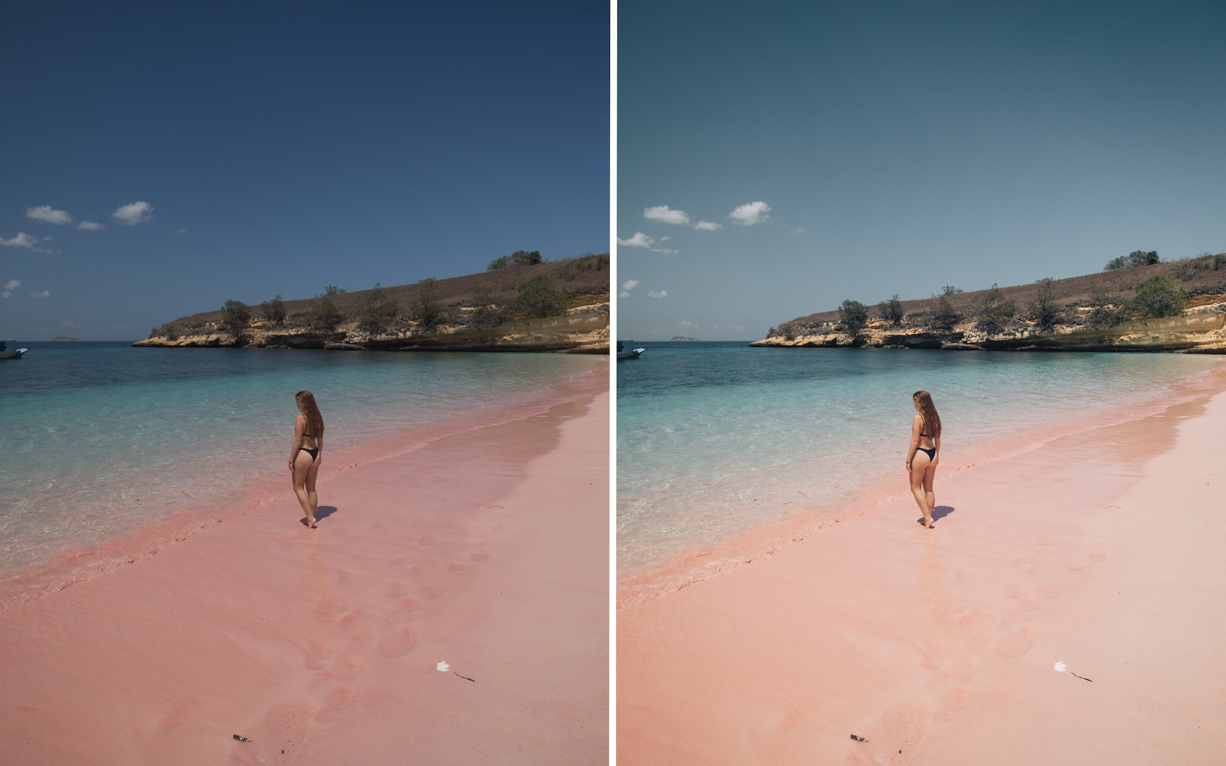 Before and after of @jordhammond Lightroom Tropical Preset - Girl on Pink sand beach, Flores, Indonesia.