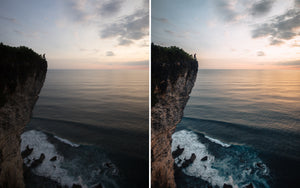 Before and after of @jordhammond Lightroom Tropical Preset - Man standing on cliff edge at sunset, Bali, Indonesia.