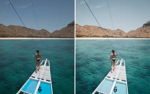Before and after of @jordhammond Lightroom Tropical Preset - Girl sat on end of boat, Flores, Indonesia.