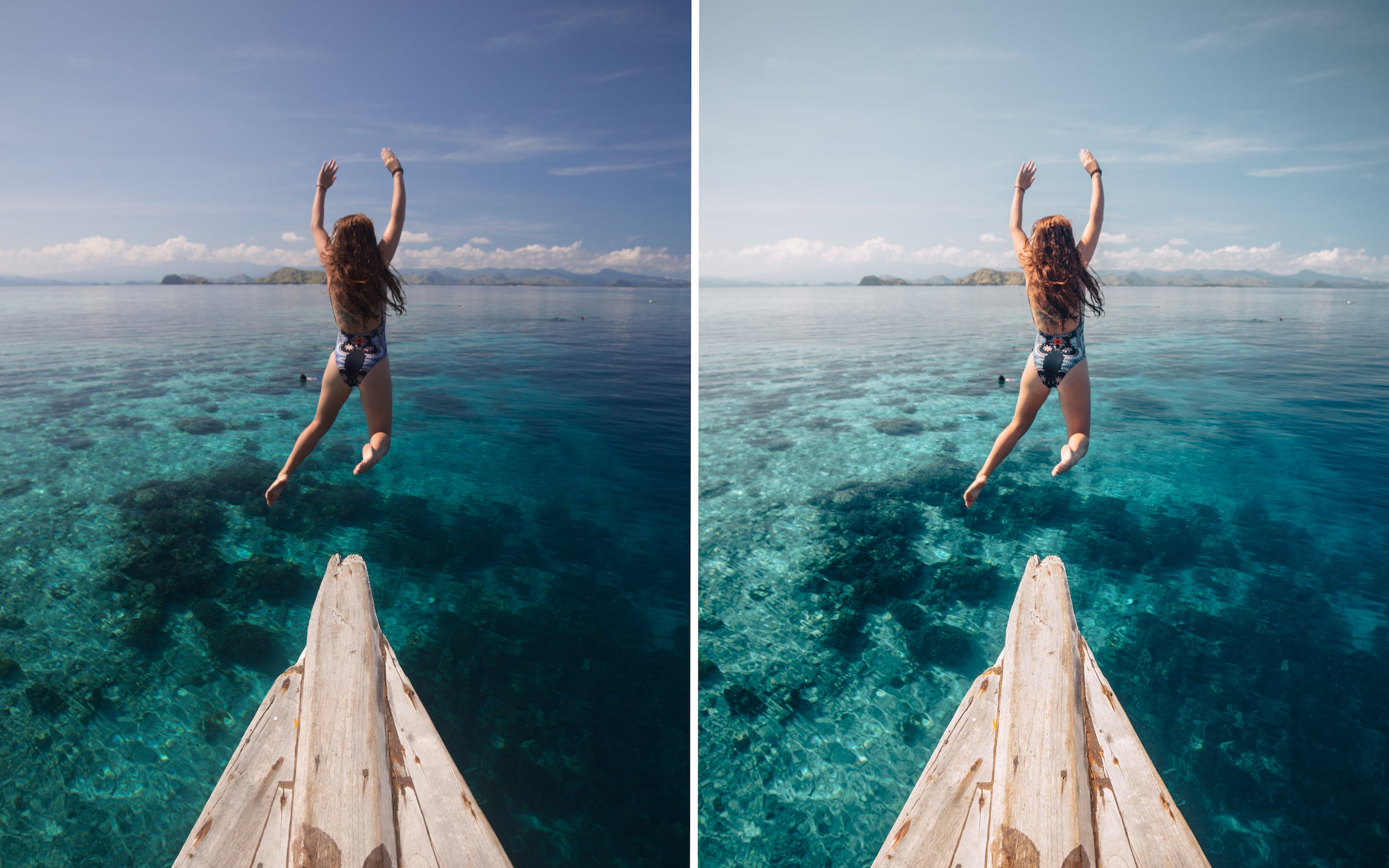 Before and after of @jordhammond Lightroom Tropical Preset - Girl jumping off jetty into ocean, Flores, Indonesia.