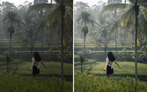 Before and after of @jordhammond Lightroom Tropical Preset - Girl walking through rice terraces, Bali, Indonesia.
