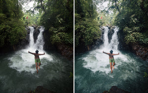 Before and after of @jordhammond Lightroom Tropical Preset - Man jumping into Aling Aling waterfall, Bali, Indonesia