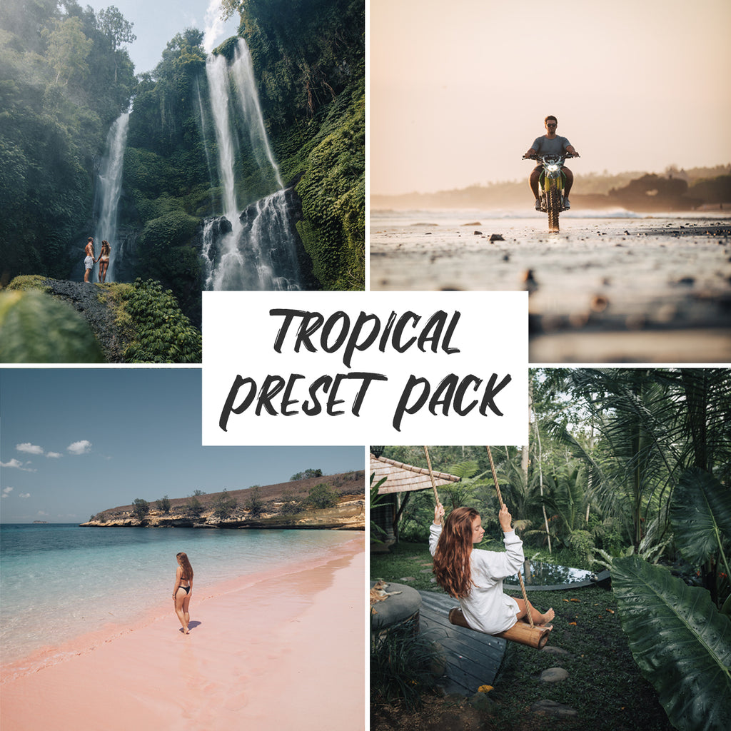 Cover photo for the Jord Hammond Tropical Preset Pack, with 4 examples of the presets in use in this pack.